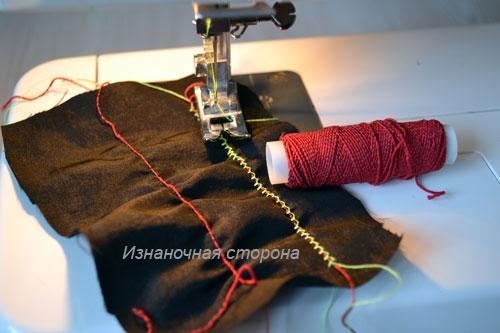 Как пришить нитку-резинку строчкой зигзаг