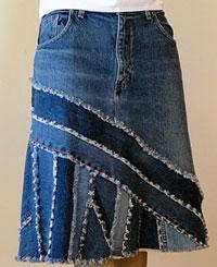 Как сделать юбку из старых джинсов