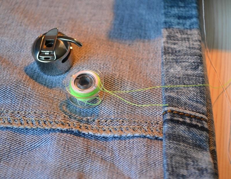 Как подшить джинсы толстыми нитками