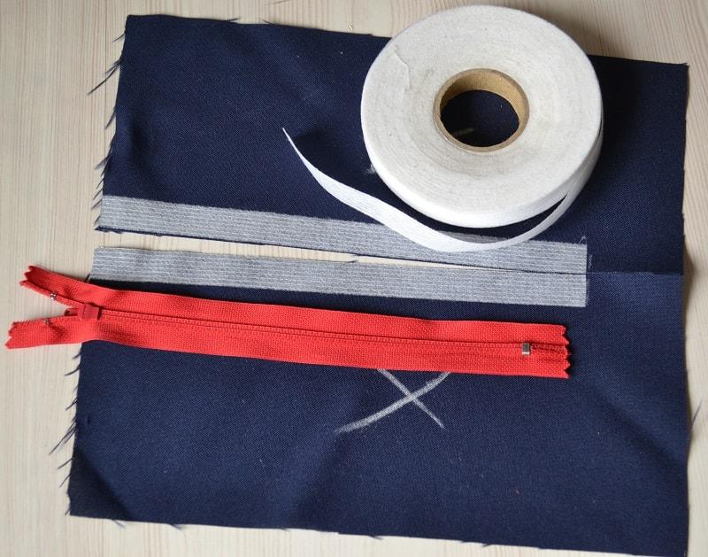 Срезы ткани юбки готовы к установке молнии
